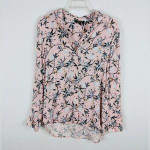 Topshop Pink Floral Long Sleeve Blouse